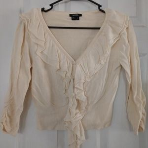 Cream cardigan pearl buttons